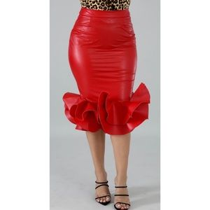 Faux Leather Swirl Skirt